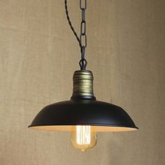 Simple Black 1 Light Small Barn Pendant In Industrial Style
