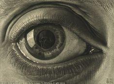 MC Escher Look in the eye's reflection Alphonse Mucha, Scary Optical Illusions, Escher Kunst, Mc Escher Art, Drawn Art, Wow Art, Art Plastique, Printmaking, Eyes