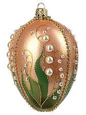 Lilies of the Valley Faberge Inspired Eggs Glass Ornament Easter Decoration