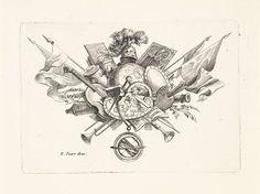 Bernard Picart | Attributen van wetenschap en kunsten, Bernard Picart, 1683 - 1733 | Attributen van wetenschap, zoals globe en passer. Daarnaast attributen van de kunsten, als viool, bladmuziek en schilderspalet.