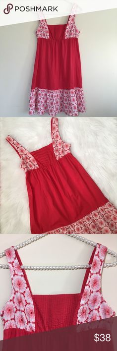 """Anthro Eloise Floral Embroidered Sun Dress Size XS Beautiful and Very Romantic Style Sun dress Made by Eloise for Anthropologie in Red and White Colors. It features a large floral embroidery on hemline, shoulder straps and upper back. It has an elastic gathering at waist for the perfect fit. Pre loved in great condition! Made of 100% cotton.  Bust measures 16"""" Total length is 33 1/2"""". Anthropologie Dresses Midi"""
