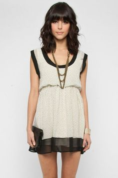 Who's Your Dottie Dress in Cream and Black $42 at www.tobi.com - I think I just found my new fav store!