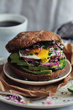 Super Healthy Breakfast Sandwich by theawesomegreen #Breakfast #Sandwich…