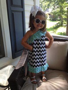 Girls One Shoulder Chevron Dress with Aqua Ta Dot Ruffle Michael Miller SALE PRICED. $30.00, via Etsy.