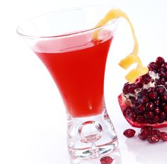 Pomegranate Martini, my personal holiday favorite, always a big hit with  the girls but also get thumbs up from the boys. 2oz citrus or reg. vodka, 1oz triple sec, 3oz pure Pomegranate juice. Shake with ice, strain and serve with a squeeze of lime. Enjoy!