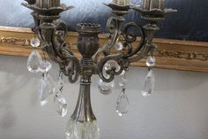 Antique French Candelabra chrystals with marble by BurlapandBees, $55.00