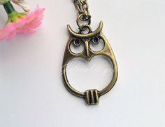 Vintage owl necklace,antique brass lover heart belly owl hooters pendant necklace