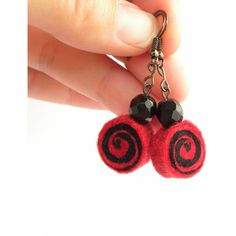 Earrings unique felted rolls no 102, felt earrings, very light, unique... (53 PLN) ❤ liked on Polyvore featuring home, home decor and red and black home decor