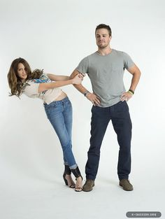 """Katie Cassidy and Stephen Amell, from CW's """"Arrow"""". Entertainment Weekly Comic Con Photshoot"""