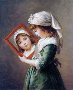 Julie le Brun with a mirror, aged by Elisabeth Louise Vigée Le Brun, 1787 Beautiful Paintings, Beautiful Images, Different Forms Of Art, French History, Elisabeth, Julie, Through The Looking Glass, Renoir, Illustration Girl