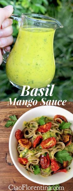 Basil Mango Sauce Recipe, ready in 5 minutes, sweet, savory and tangy, perfect for fish, scallops, chicken or your favorite pasta