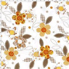 Tecido Estampado para Patchwork - Botão Flor Amarelo  100% Algodão - 1,40m de largura   Fabricante:  Telanipo