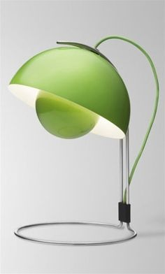 Green FlowerPot Table Lamp... It's odd but I think I like it. Modern and clean lines.