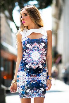 www.hauteandrebellious.com - JEWEL KALEIDOSCOPE PRINT DRESS - Navy/White
