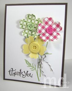 Stampin' Up! - Simply Pressed Clay, Reinker - Daffodil Delight, Pear Pizzazz, Melon Mambo, Gingham Garden Designer Series paper, Early Espresso Baker's Twine