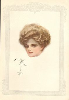 FROM ~ The Archive of the Old Print Man ~ Bachelor Belles by Harrison Fisher, 1908, New York. DEPICTING ~ A beautiful Harrison Fisher girl, in portrait view of her face. TITLE ~ untitled - by Harrison Fisher.   eBay!