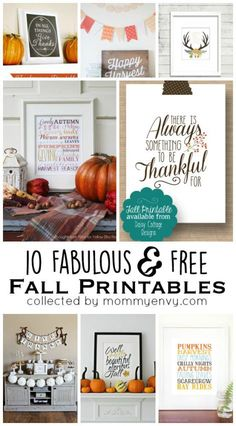 10 Fabulous and Free Fall Printables for your holiday decor. Perfect for Thanksgiving!