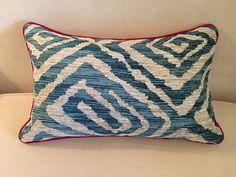 Custom Turquoise Geometric Zebra Kidney Pillow