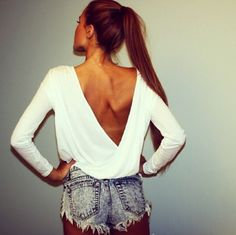 Spring Outfit - Long Sleeve Low Back Top - Shorts