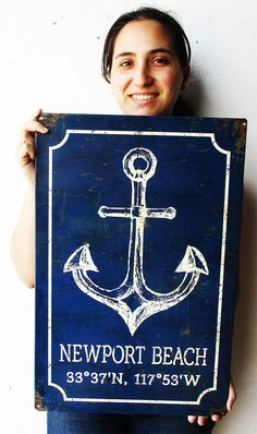 Newport Beach Rustic Anchor metal sign with longitude and latitude degrees. Beach House Signs, Sewing Crafts, Diy Crafts, Wood Pallet Signs, Decorative Metal, Metal Bar, Ocean Art, Newport Beach, Metal Signs