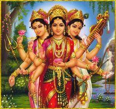 Lakshmi Maa, the Goddess of Materiality. Parvati Maa, the Goddess of Power. Sarswati Maa, the Goddess of Knowledge. Navratri Puja, Happy Navratri, Happy Onam, Ganesha, Baby Buddha, Durga Images, Krishna Images, Mother Goddess, Shiva Shakti