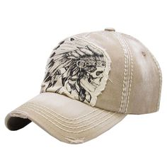 Indian Skull Head Feathers Patch Factory Distressed Vintage Beige Cap Hat   fashion  clothing  shoes  accessories  womensaccessories  hats (ebay link) ba1d1abf426b