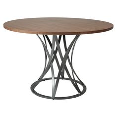 "The Valentijn dining table with 48"" round Walnut Wood Veneer top is a beautifully designed table with modern elements yet classic appeal. It features intricate iron designed base in SF Matte Gray. The is perfect for intimate family gatherings, holidays and any other reasons to bring family together."