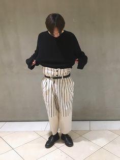 Lui'sオリジナルの編み切り替えビッグニット。 これはレディースチックなシルエットですが、着丈も短