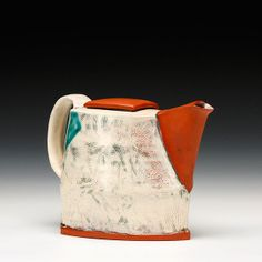 Marty Fielding - Teapot Earthenware with slip and glaze