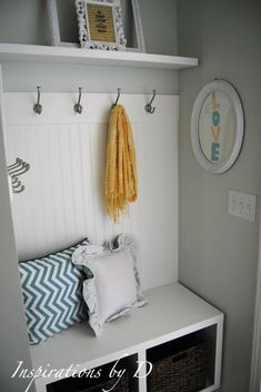 Adore this closet trasformed into a small mudroom! Been wanting to do something like this forever!