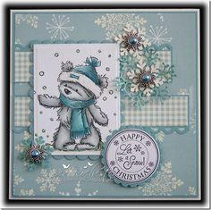 James Bear in the snow - Happy Christmas card. Christmas Cards To Make, Xmas Cards, Handmade Christmas, Holiday Cards, 3d Cards, Cute Cards, Snowman Cards, Card Making Inspiration, Winter Cards