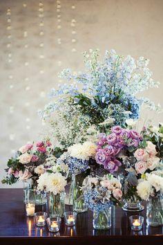 pastel flowers with romantic tea lights // photo by kirralee wedding photographer// flowers by blooming brides// via ruffledblog.com