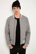 Shore Leave Quilted Wool Bomber Jacket in Grey at Urban Outfitters