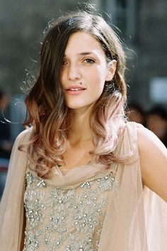 i love this example of ombre hair! very faintly pink and works great with a darker brunette!