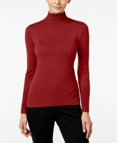Alfani Long-Sleeve Ruched Turtleneck Top, Created for Macy's - Red XXL