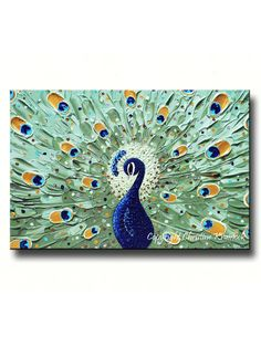 CUSTOM Abstract Painting Peacock Modern Textured Impasto Gallery Fine Art Sapphire Blue Green MADE to ORDER sizes -Christine
