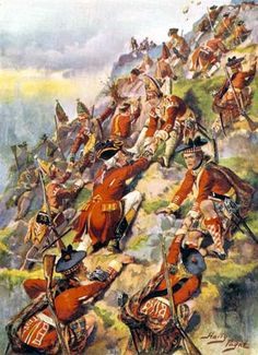 General Wolfe's army scales the Heights of Abraham in the attack on Quebec.  http://www.britishbattles.com/battle-of-quebec.htm