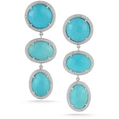 Dana Rebecca Designs - Carly Brooke Turquoise Earrings With Diamonds ❤ liked on Polyvore