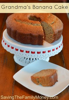 Grandmas Banana Cake Recipe is so yummy you'll be keeping this one for special occasions.  #Cake #Banana