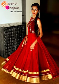 Shining bright like a star and elegant in my red floor length anarkali dress !  Product Description : Material Used : Net,Velvate,brocade,santoon. Work/Embroidery : Zardosi,kundan,Zari. Available sizes : XS,S,M,L Available colors : white,red,turquoise blue,baby pink.  For any further details / enquiries you can get back to us @ arshvidesigns@gmail.com