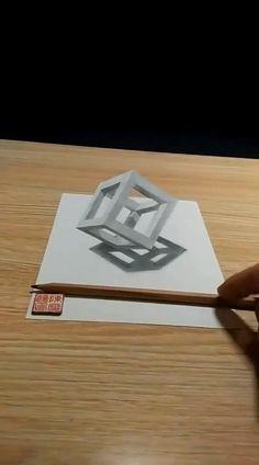 3d Pencil Drawings, 3d Art Drawing, Art Drawings Sketches Simple, 3d Pencil Art, Easy 3d Drawing, Illusion Drawings, Illusion Art, Art Optical, Art Drawings Beautiful
