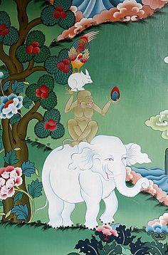 Animal del cuento de la amistad en el monasterio de Kopan, Katmandú, Nepal, Asia