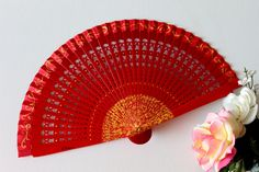 Spanish hand painted fan, red and yellow, carved wood, free shipping to Spain Painted Fan, Hand Painted, Carved Wood, Small Gifts, Hand Fan, Printing On Fabric, My Design, Spanish, Carving