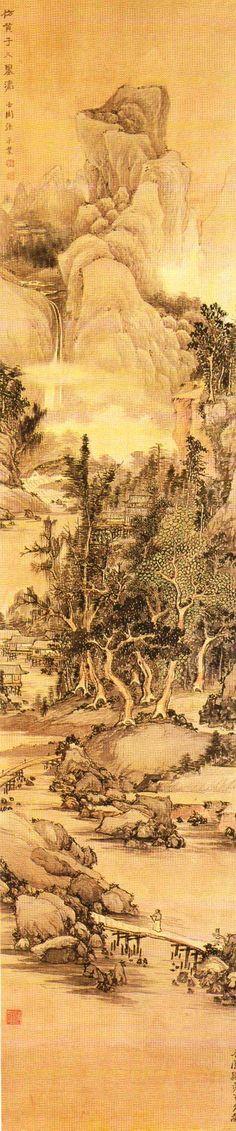 오원(吾園) 장승업(張承業) 作 -  방황자구산수도(倣黃子久山水圖). 장승업의 산수도 중에서 가장 잘 알려져 있으며, 또한 가장 뛰어난 작품 중 하나이다. 장승업은 세로로 긴 화폭을 즐겨사용하였지만 이 작품은 비례상 특히 더 길다. 그래서인지 흔히 전경(前景)에 있던 무성한 숲을 중경(中景)에 배치하고전경에는 수면과 작은 언덕, 다리를 배치하였다. 호암미술관 소장.