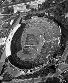 Olympic Summer 1964 Tokyo Japan Olympis Stadium Opening Ceremony Aerial view of the Olympic stadium in Tokyo on Oct. 10, 1964 as teams of the countries represented filed in for the ceremonial opening of the Olympic Games. (AP Photo)