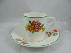 Colorful 1940s Vintage Portland Pottery Cobridge English Bone China Demitasse…