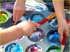 Painting with lotion. Really fun process art and sensory activity for toddlers and preschoolers.