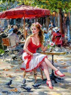 Romantic Paintings, Amazing Paintings, Beautiful Girl Drawing, Beautiful Girl Image, Woman Painting, Artist Painting, Watercolor Flowers Tutorial, Female Pictures, Paris Art