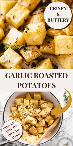 These Garlic Roasted Potatoes are crispy, buttery and incredibly tasty! They make a quick and easy last-minute side dish, and I include tips for the best possible texture! Best Vegetarian Recipes, Vegetarian Dinners, Good Healthy Recipes, Raw Food Recipes, Brunch Recipes, Appetizer Recipes, Free Recipes, Vegan Side Dishes, Vegetable Side Dishes