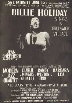 Billie Holiday Concert Poster — Lowe's Sheridan, New York, NY